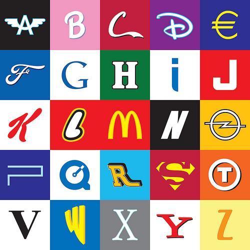 Alphabet with logos