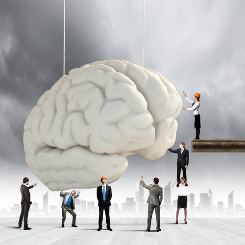 Brain Being Held Up by People