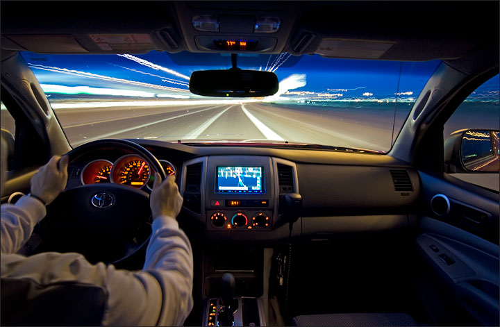 Driving a sedan