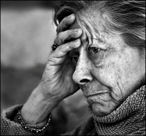 Elderly woman in distress