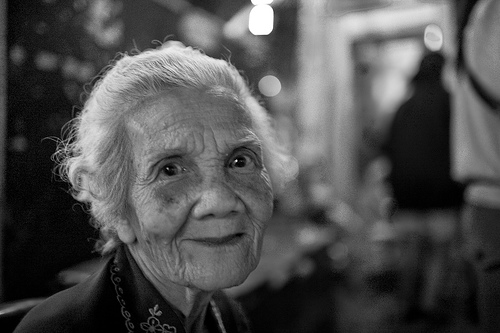 Elderly woman smile