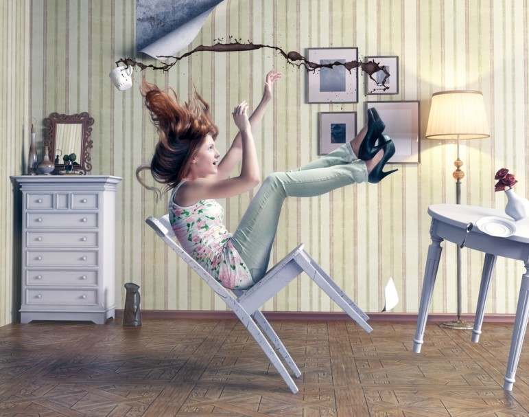 Girl falling from chair