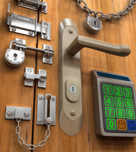 Many locks on door