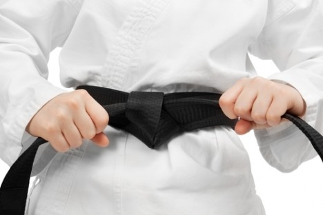 Martial arts boy black belt