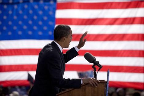 Obama american flag background