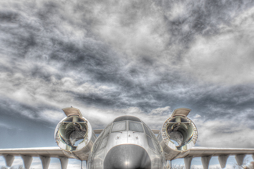 Plane amid sky
