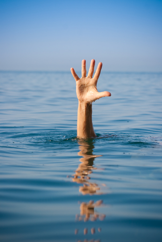 Single hand of drowing man