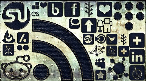 Social media icons denim