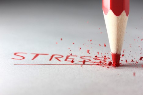 Stress in red colored pencil